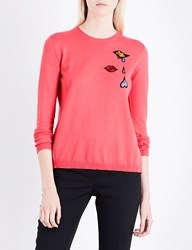 Mary Katrantzou Rummy Bead Embellished Knitted Jumper Coral