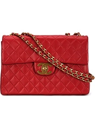 Chanel Vintage Maxi Single Flap Shoulder Bag Red