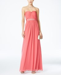 Adrianna Papell Strapless Ruched Gown French Coral