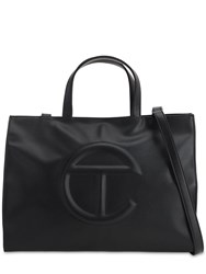 Telfar Medium Embossed Faux Leather Tote Bag Black
