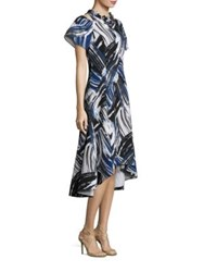Rickie Freeman For Teri Jon Cold Shoulder Print Hi Lo Dress Multicolor
