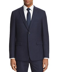 Theory Wellar Plaid Slim Fit Suit Separate Sport Coat Navy