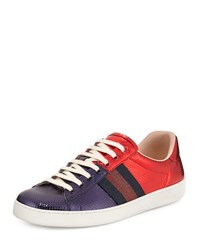 Gucci New Ace Snakeskin Low Top Sneaker Red Blue Red Blue