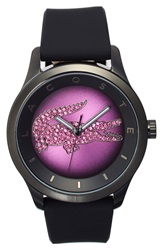 Lacoste 'Victoria' Crystal Dial Watch 40Mm Black Pink