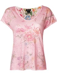 Avant Toi Reversible Floral Print T Shirt Pink And Purple