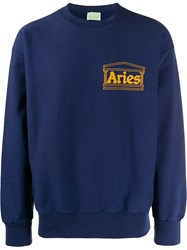 Aries Temple Logo Sweatshirt Blue