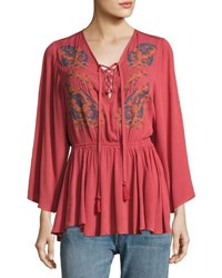 Jach's Girlfriend Lace Up Embroidered Peasant Top