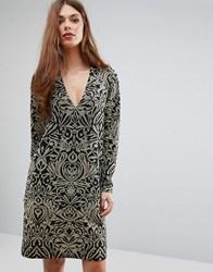 Ganni Schiffer Glitter Print Long Sleeve Dress Black Gold