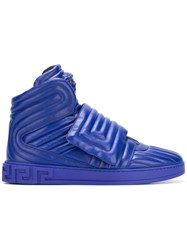 Versace 'Palazzo Medusa' Quilted Hi Top Sneakers Blue