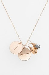 Women's Nashelle Pyrite Initial And Arrow 14K Gold Fill Disc Necklace Gold Pyrite Silver Pyrite I