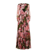 Dolce And Gabbana Rose Print Maxi Dress Female Pink