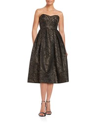Erin Fetherston Jacquard Pleated Strapless Fit And Flare Dress Black Multi