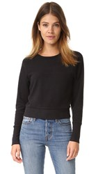 James Perse Fleece Dolman Raglan Top Black