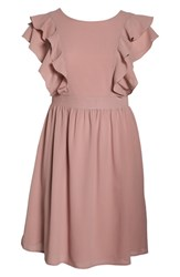 Lost Ink Plus Size Ruffle Sleeve Fit And Flare Dress Blush