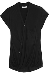 Helmut Lang Draped Wrap Effect Crepe Top Black