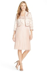 Tahari Metallic Fit And Flare Dress With Jacket Champagne Pink