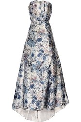 Mikael Aghal Strapless Pleated Printed Satin Gown Blue