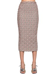 N 21 Brocade Pencil Midi Skirt Beige Multi