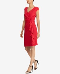 American Living Ruffled Jersey Dress Red