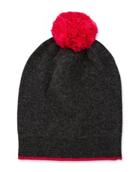 Neiman Marcus Knit Wool Blend Pompom Hat Charcoal