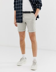 Selected Homme Chino Shorts In Organic Cotton Grey