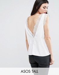 Asos Tall Deep Plunge Lace Insert Camisole Vest Ivory White
