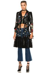 Alexander Mcqueen Printed Leather Motorcycle Jacket In Black Floral Black Floral