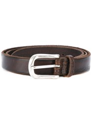 Orciani Embossed Details Belt Men Leather 100 Brown