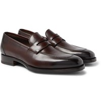 Tom Ford Wessex Burnished Leather Penny Loafers Brown