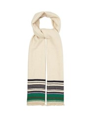 Isabel Marant Milla Striped Cashmere Scarf White