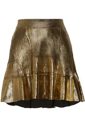 Ohne Titel Coated Ribbed Cotton Mini Skirt Metallic