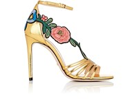 Gucci Women's Ophelia Leather Ankle Strap Sandals Gold