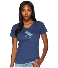 Life Is Good Classic Dragonfly Crusher Vee Darkest Blue T Shirt
