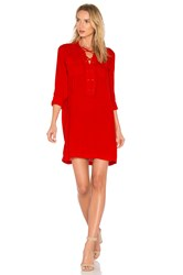 1.State Lace Up Pocket Dress Red