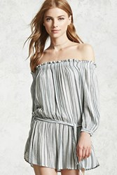 Forever 21 Striped Off The Shoulder Dress Cream Grey