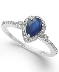 Macy's Sapphire 7 8 Ct. T.W. And Diamond 1 4 Ct. T.W. Ring In 14K White Gold Blue