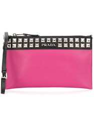 Prada City Studded Clutch Pink And Purple
