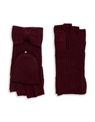 Kate Spade Bow Accented Convertible Gloves Midnight Wine