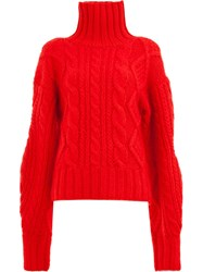 Aalto Cable Knit Jumper Red