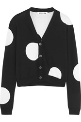 Polka Dot Knitted Cardigan Black