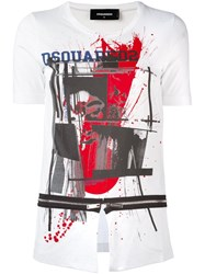 Dsquared2 Open Slit Zip T Shirt White
