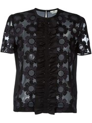 Fendi Floral Embroidered Tulle T Shirt Black