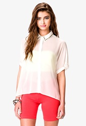 Forever 21 Oversized Studded Collar Shirt Cream Gold