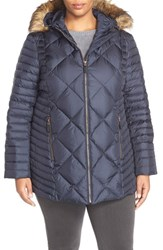 Plus Size Women's Marc New York 'Kami' Quilted Jacket With Faux Fur Trim Denim