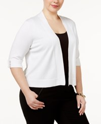 Jm Collection Plus Size Open Front Cropped Cardigan Only At Macy's Bright White