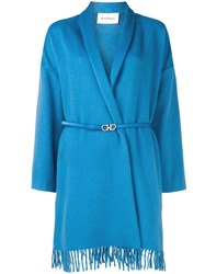 Salvatore Ferragamo Belted Wrap Style Coat Blue