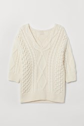 Handm H M Cable Knit Sweater White