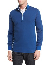 Robert Graham Alastor Mini Chevron Half Zip Sweater Navy