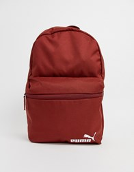 Puma Phase Backpack With Small Logo In Burgundy Red