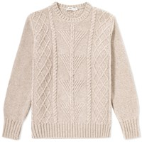 Inis Meain Fern Cable Crew Neck Sweat Neutrals